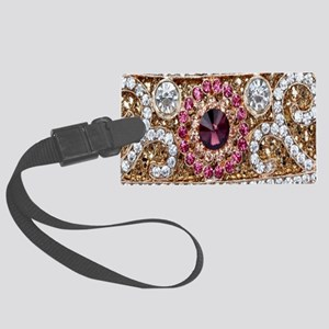 girly bohemian burgundy rhinesto Large Luggage Tag