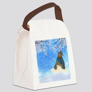 Half Melted Snowman Canvas Lunch Bag
