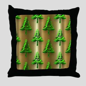 Green Christmas Trees on Gold Throw Pillow