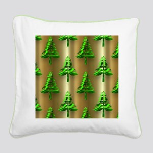 Green Christmas Trees on Gold Square Canvas Pillow