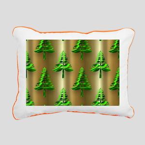 Green Christmas Trees on Rectangular Canvas Pillow