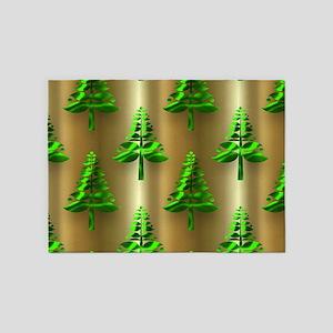 Green Christmas Trees on Gold 5'x7'Area Rug