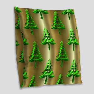 Green Christmas Trees on Gold Burlap Throw Pillow
