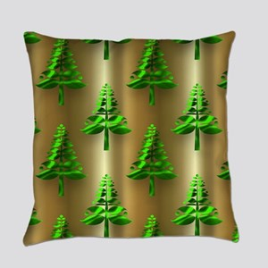 Green Christmas Trees on Gold Everyday Pillow