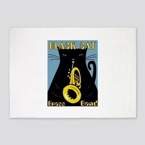 Black Cat Brass Band 5'x7'Area Rug