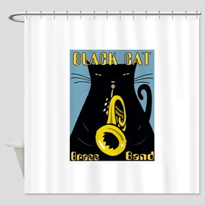 Black Cat Brass Band Shower Curtain