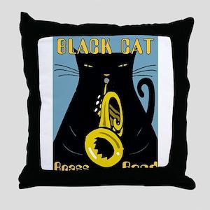 Black Cat Brass Band Throw Pillow