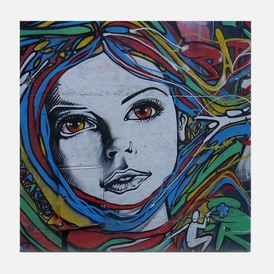 Graffiti Girl with Rainbow Hair Tile Coaster