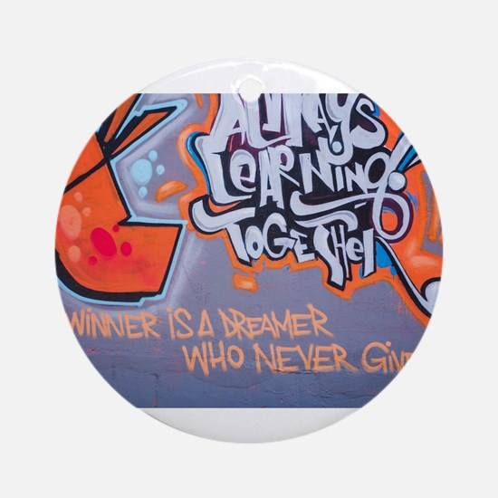 Always Learning Together Graffiti Round Ornament