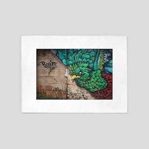 Quetzal Bird Graffiti 5'x7'Area Rug