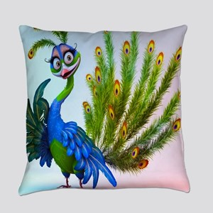 Prissy Peacock Everyday Pillow
