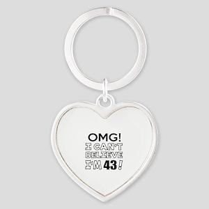 Omg I Can Not Believe I Am 43 Heart Keychain