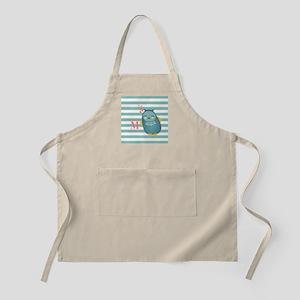 Cute Blue Owl Stripes Monogram Personalized Apron