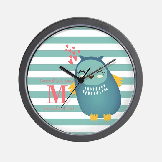 Cute Blue Owl Stripes Monogram Personal Wall Clock