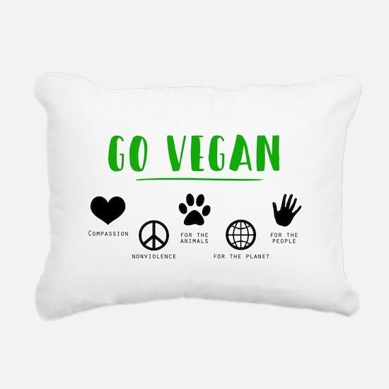 Go Vegan Rectangular Canvas Pillow