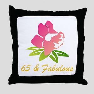 65 & Fabulous Flower Throw Pillow