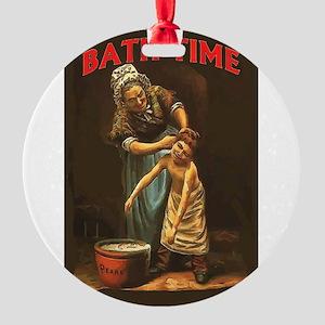 Bath Time Vintage Boy at Tub Round Ornament