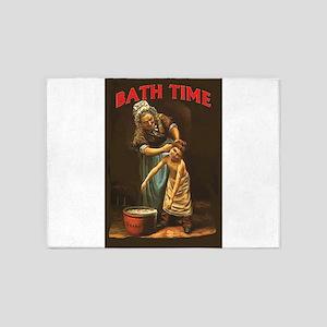 Bath Time Vintage Boy at Tub 5'x7'Area Rug