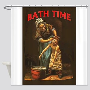 Bath Time Vintage Boy at Tub Shower Curtain