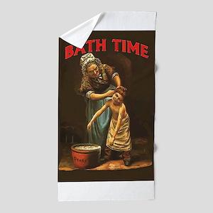 Bath Time Vintage Boy at Tub Beach Towel