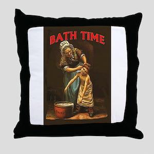 Bath Time Vintage Boy at Tub Throw Pillow