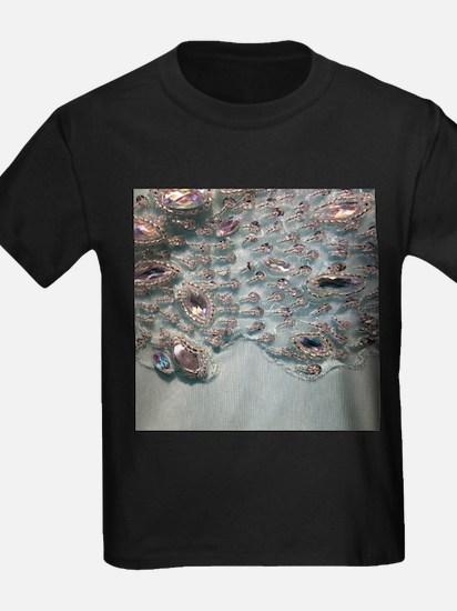 aqua silver sequins lace T-Shirt