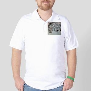 aqua silver sequins lace Golf Shirt