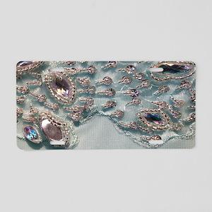 aqua silver sequins lace Aluminum License Plate