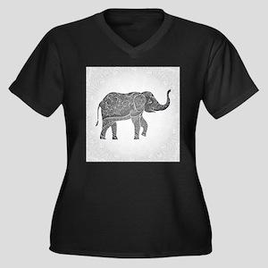 Indian Eleph Women's Plus Size V-Neck Dark T-Shirt