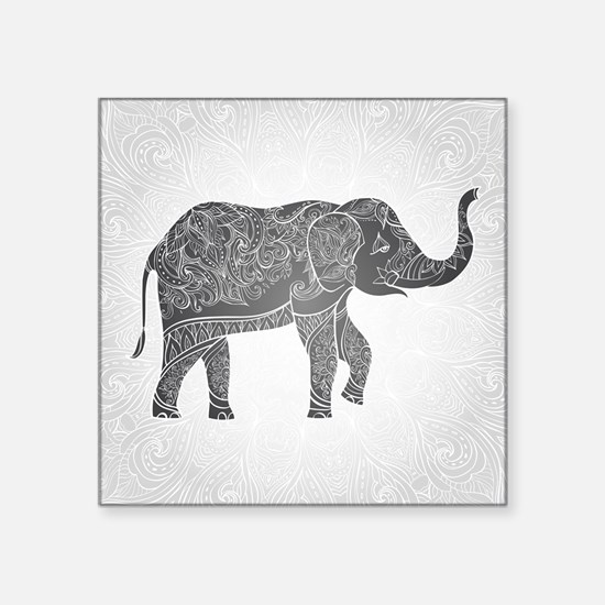 "Indian Elephant Square Sticker 3"" x 3"""