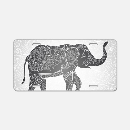 Indian Elephant Aluminum License Plate