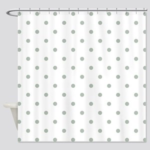 Green Sage Polka Dots Pattern Sm Shower Curtain