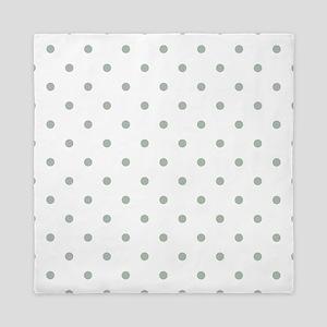 Green, Sage: Polka Dots Pattern (Small Queen Duvet