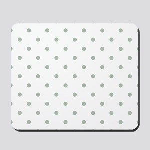 Green, Sage: Polka Dots Pattern (Small) Mousepad