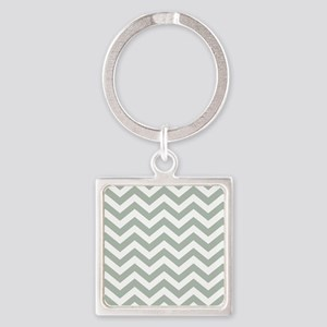 Chevron Zig Zag Pattern: Sage Gree Square Keychain