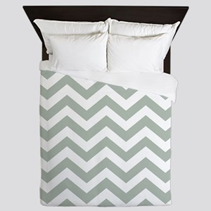 Chevron Zig Zag Pattern: Sage Green Queen Duvet