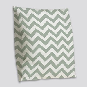 Chevron Zig Zag Pattern: Sage Burlap Throw Pillow