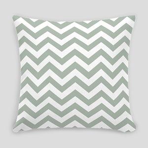 Chevron Zig Zag Pattern: Sage Gree Everyday Pillow