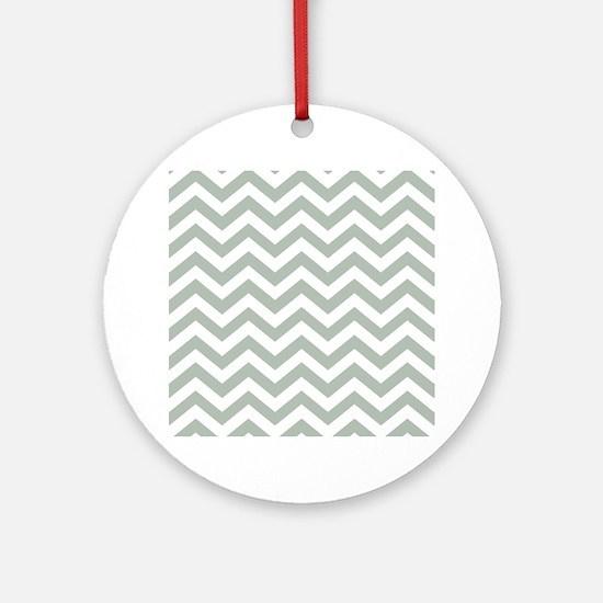 Chevron Zig Zag Pattern: Sage Green Round Ornament