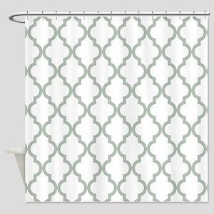 Moroccan Quatrefoil Pattern Sage G Shower Curtain