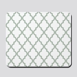 Moroccan Quatrefoil Pattern: Sage Green Mousepad
