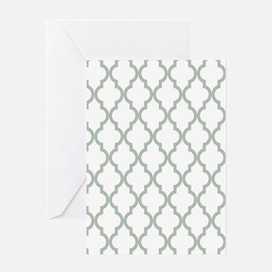 Moroccan Quatrefoil Pattern: Sage Gr Greeting Card