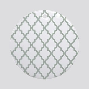 Moroccan Quatrefoil Pattern: Sage G Round Ornament