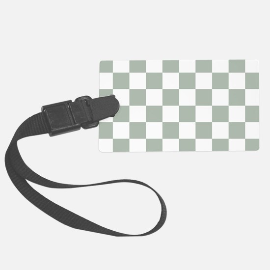 Checkered Pattern: Sage Green Luggage Tag