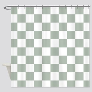 Checkered Pattern: Sage Green Shower Curtain