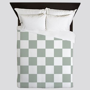 Checkered Pattern: Sage Green Queen Duvet