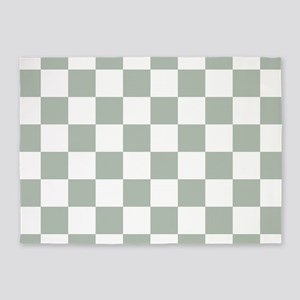 Checkered Pattern: Sage Green 5'x7'Area Rug