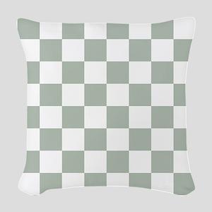 Checkered Pattern: Sage Green Woven Throw Pillow