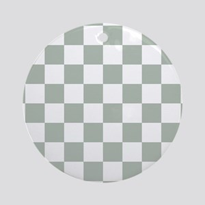 Checkered Pattern: Sage Green Round Ornament