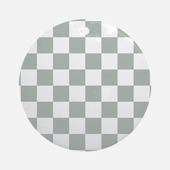 Checkered Pattern: Sage Green Round Ornament